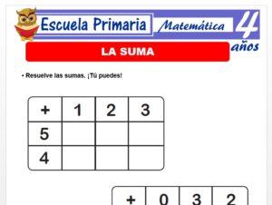Modelo de la Ficha de Operación de la suma para Niños de 4 Años