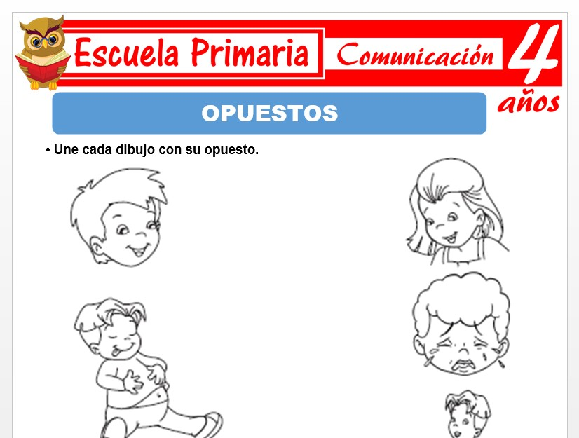 Modelo de la Ficha de Opuestos para Niños de 4 Años
