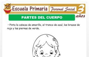 Modelo de la Ficha de Partes del cuerpo para Niños de 3 Años