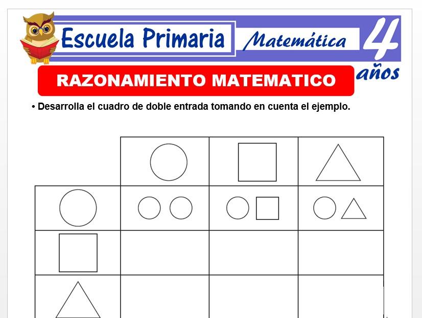 Modelo de la Ficha de Razonamiento matemático para Niños de 4 Años