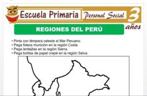 Modelo de la Ficha de Regiones del Perù para Niños de 3 Años