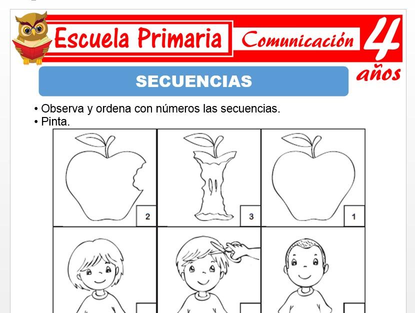 Modelo de la Ficha de Secuencias para Niños de 4 Años