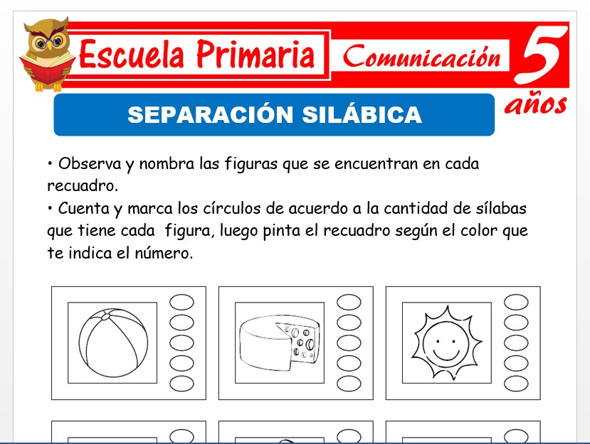Modelo de la Ficha de Separación silábica para Niños de 5 Años
