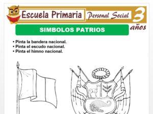 Modelo de la Ficha de Simbolos patrios para Niños de 3 Años