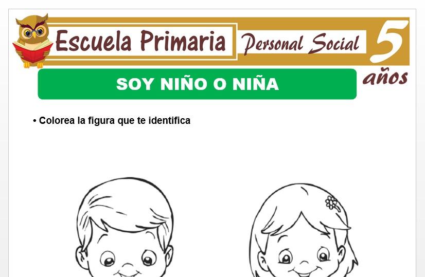 Modelo de la Ficha de Soy niña o niño para Niños de 5 Años