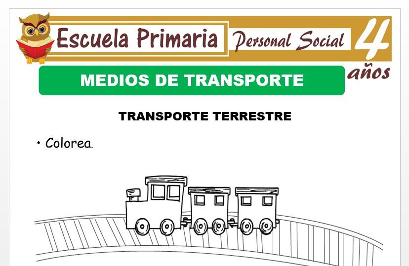 Modelo de la Ficha de Transporte terrestre para Niños de 4 Años