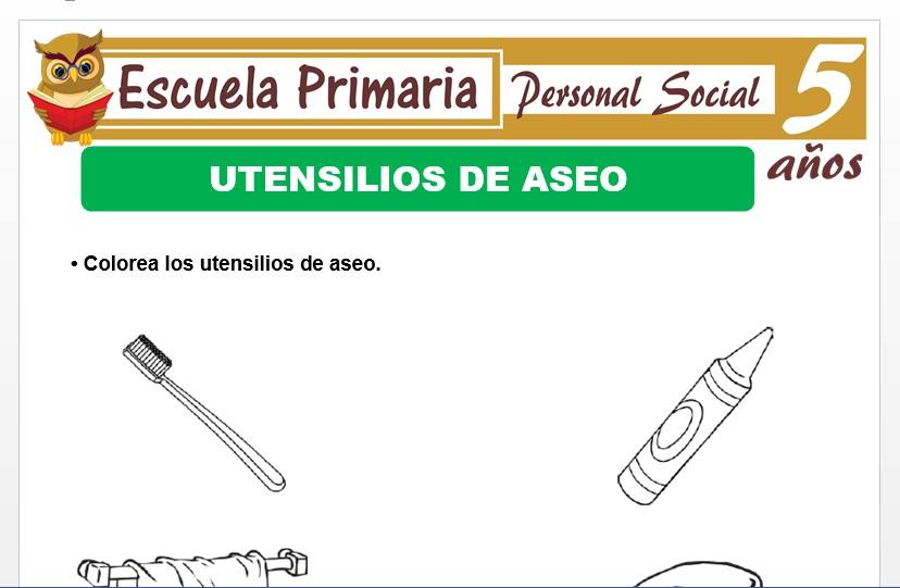 Modelo de la Ficha de Utensilios de aseo para Niños de 5 Años