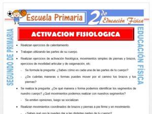 Modelo de la Ficha de Activación Fisiológica para Segundo de Primaria