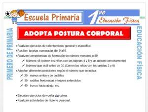 Modelo de la Ficha de Adopta Posturas Corporales para Primero de Primaria