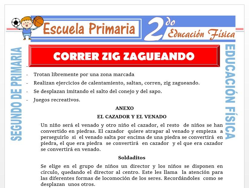 Modelo de la Ficha de Correr Zig Zagueando para Segundo de Primaria