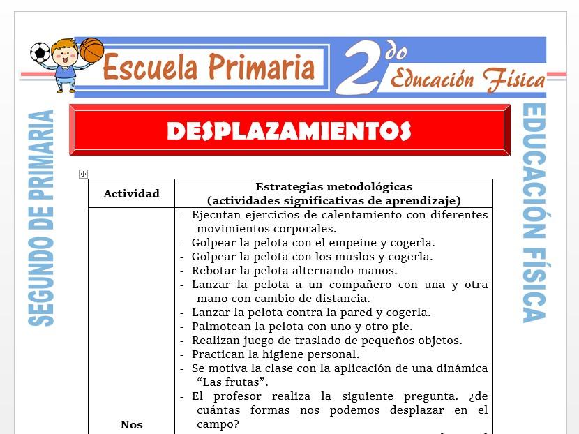 Modelo de la Ficha de Desplazamientos para Segundo de Primaria