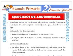 Modelo de la Ficha de Ejercicios de Abdominales para Segundo de Primaria