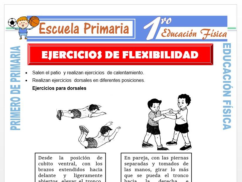 Modelo de la Ficha de Ejercicios de Flexibilidad para Primero de Primaria