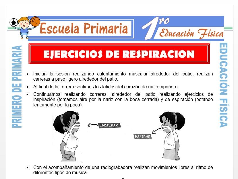 Modelo de la Ficha de Ejercicios de Respiración para Primero de Primaria