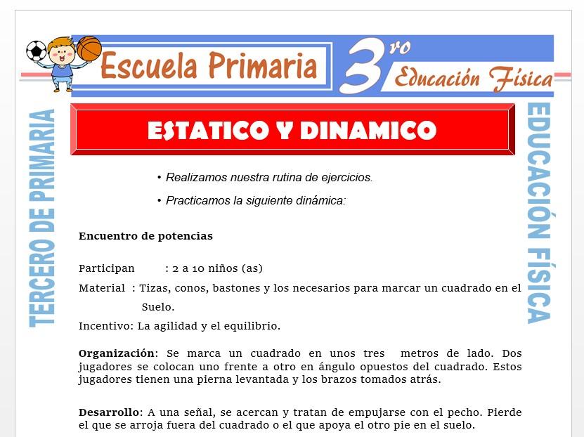 Modelo de la Ficha de Estático y Dinámico para Tercero de Primaria