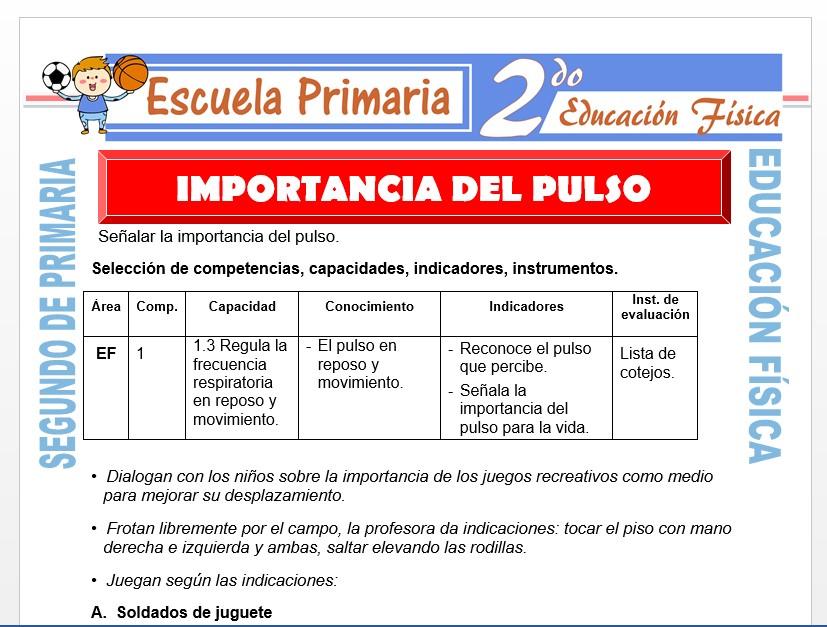 Modelo de la Ficha de Importancia del Pulso para Segundo de Primaria