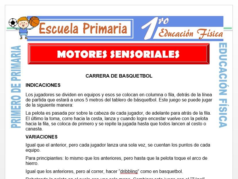 Modelo de la Ficha de Juegos Motores Sensoriales para Primero de Primaria