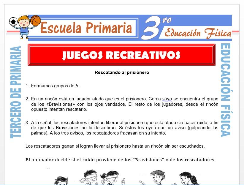 Modelo de la Ficha de Juegos Recreativos para Tercero de Primaria