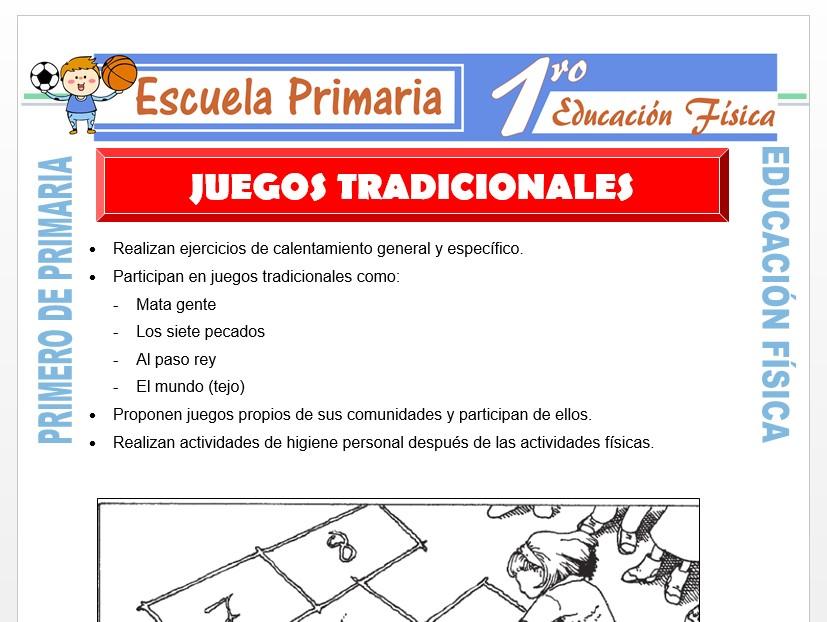Modelo de la Ficha de Juegos Tradicionales para Primero de Primaria