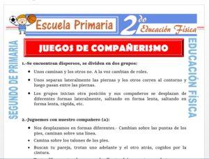 Modelo de la Ficha de Juegos de Compañerismo para Segundo de Primaria