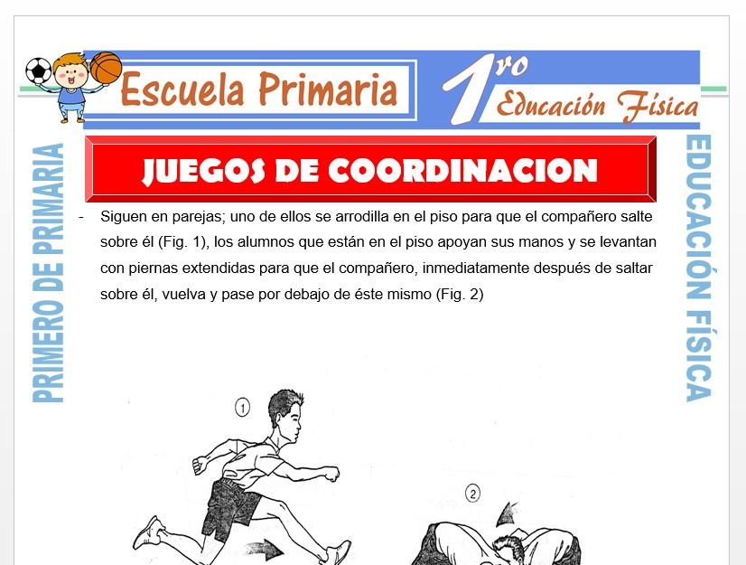 Modelo de la Ficha de Juegos de Coordinación para Primero de Primaria