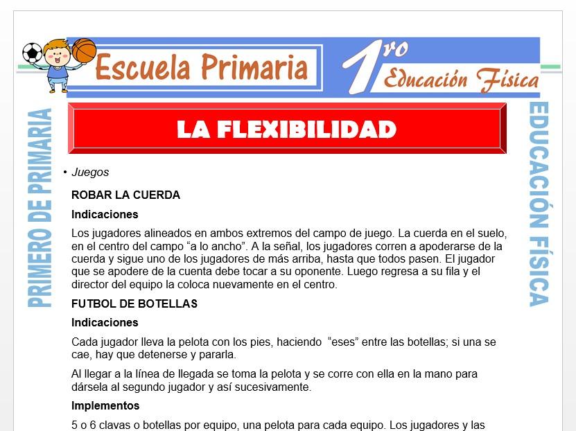 Modelo de la Ficha de La Flexibilidad para Primero de Primaria