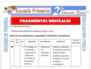 Modelo de la Ficha de Movimientos de Fragmentos Musicales para Segundo de Primaria
