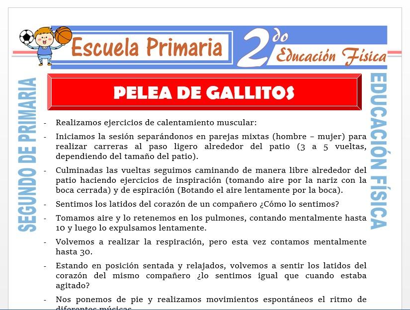Modelo de la Ficha de Pelea de Gallitos para Segundo de Primaria