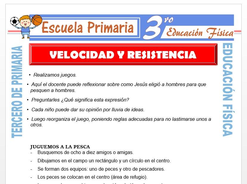 Modelo de la Ficha de Velocidad y Resistencia para Tercero de Primaria