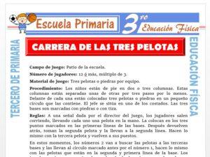 Modelo de la Ficha de Carrera de Tres Pelotas para Tercero de Primaria