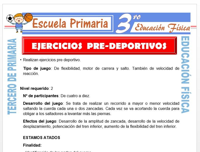 Modelo de la Ficha de Ejercicios Pre Deportivos para Tercero de Primaria