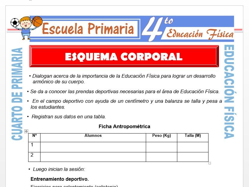 Modelo de la Ficha de Esquema Corporal para Cuarto de Primaria