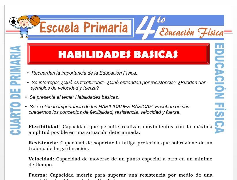 Modelo de la Ficha de Habilidades básicas para Cuarto de Primaria