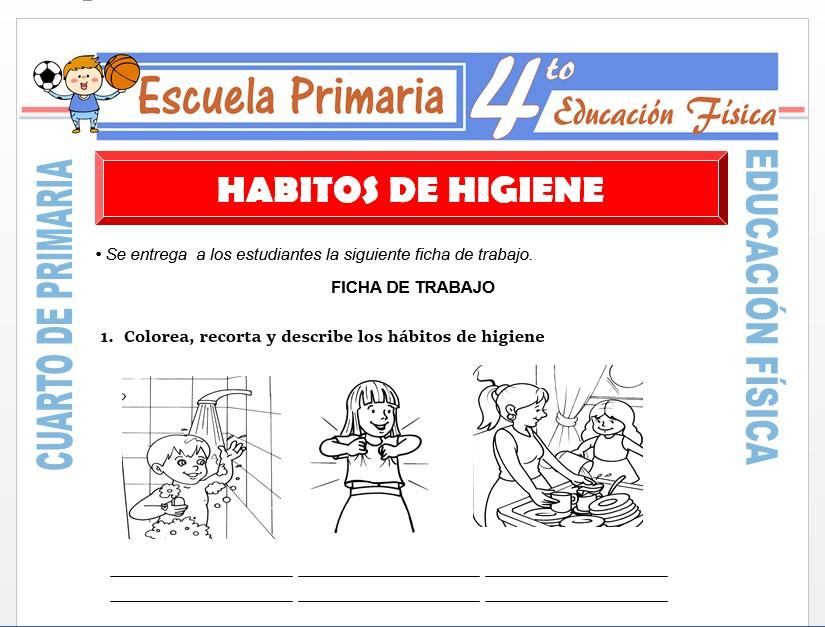 Modelo de la Ficha de Hábitos de Higiene para Cuarto de Primaria