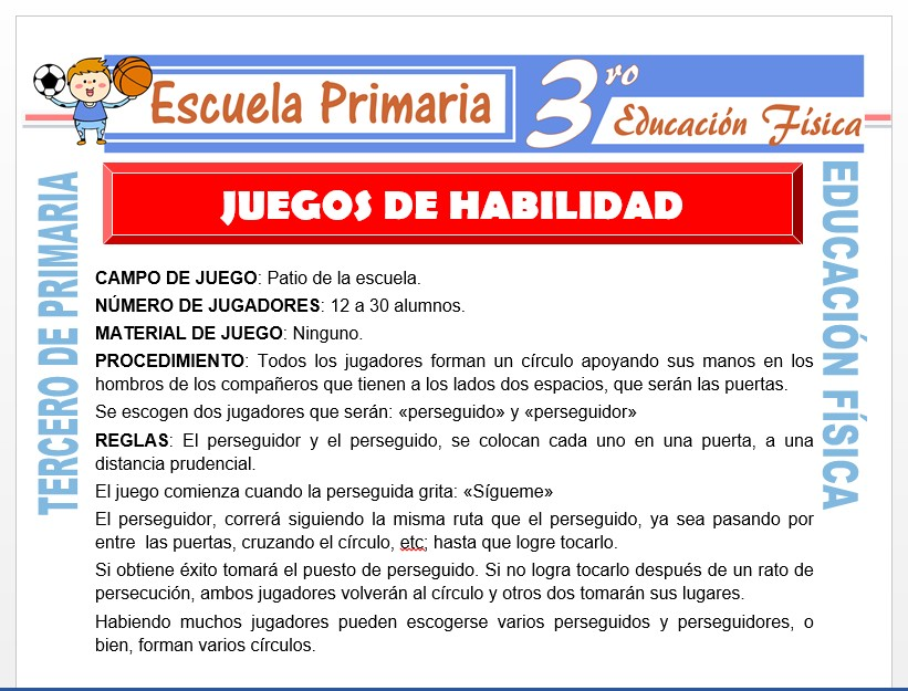 Modelo de la Ficha de Juegos de Habilidad para Tercero de Primaria