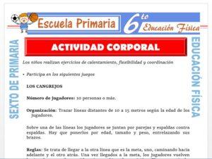 Modelo de la Ficha de Actividad Corporal para Sexto de Primaria