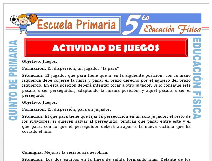 Modelo de la Ficha de Actividad de Juegos para Quinto de Primaria