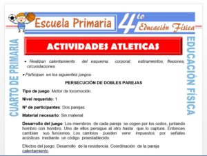 Modelo de la Ficha de Actividades Atléticas para Cuarto de Primaria