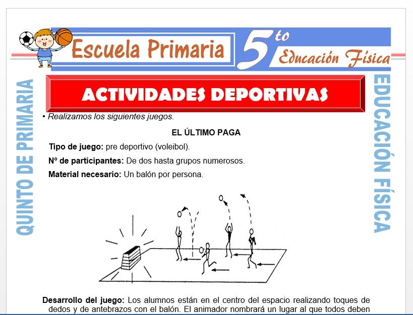 Modelo de la Ficha de Actividades Deportivas para Quinto de Primaria