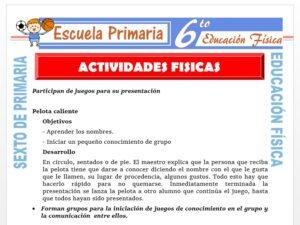 Modelo de la Ficha de Actividades Físicas para Sexto de Primaria