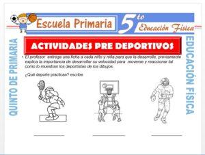 Modelo de la Ficha de Actividades Pre Deportivos para Quinto de Primaria