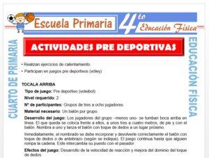 Modelo de la Ficha de Actividades Deportivas para Cuarto de Primaria