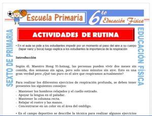 Modelo de la Ficha de Actividades de Rutina para Sexto de Primaria