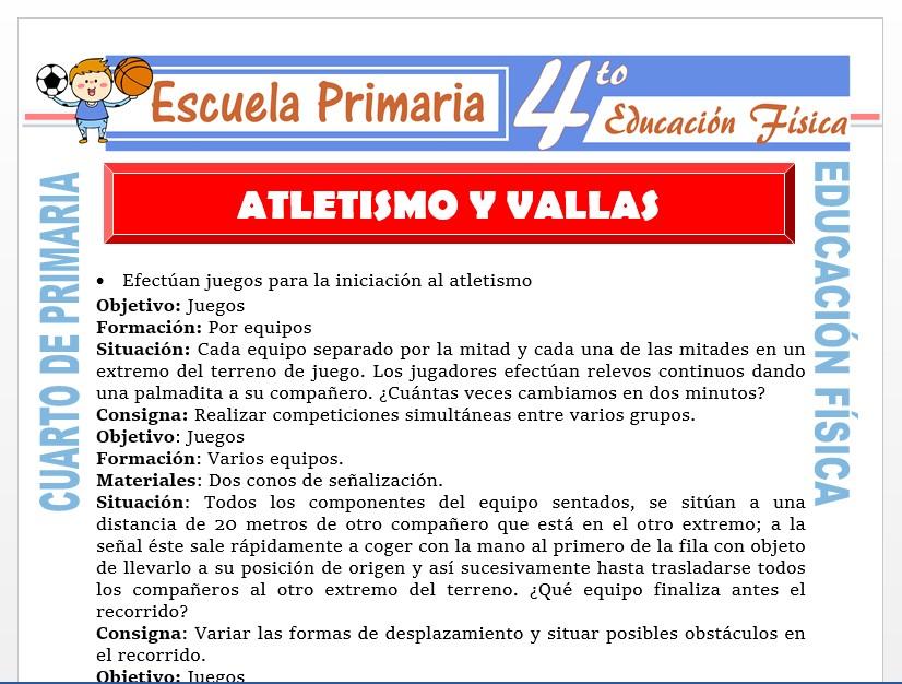 Modelo de la Ficha de Atletismo y Vallas para Cuarto de Primaria