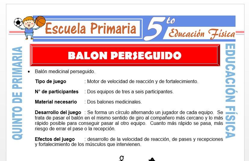 Modelo de la Ficha de Balón Perseguido para Quinto de Primaria