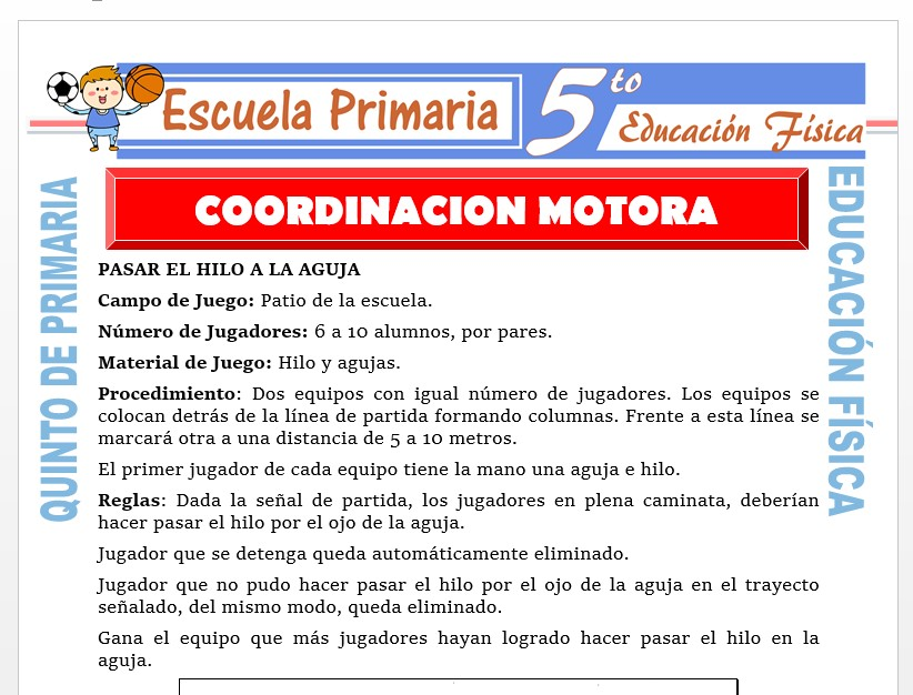 Modelo de la Ficha de Coordinación Motora para Quinto de Primaria