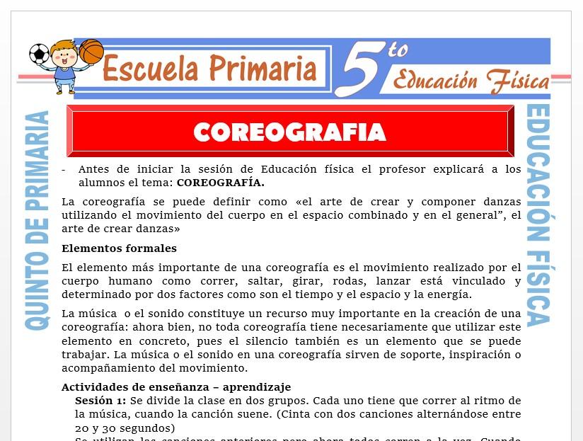 Modelo de la Ficha de Coreografía para Quinto de Primaria