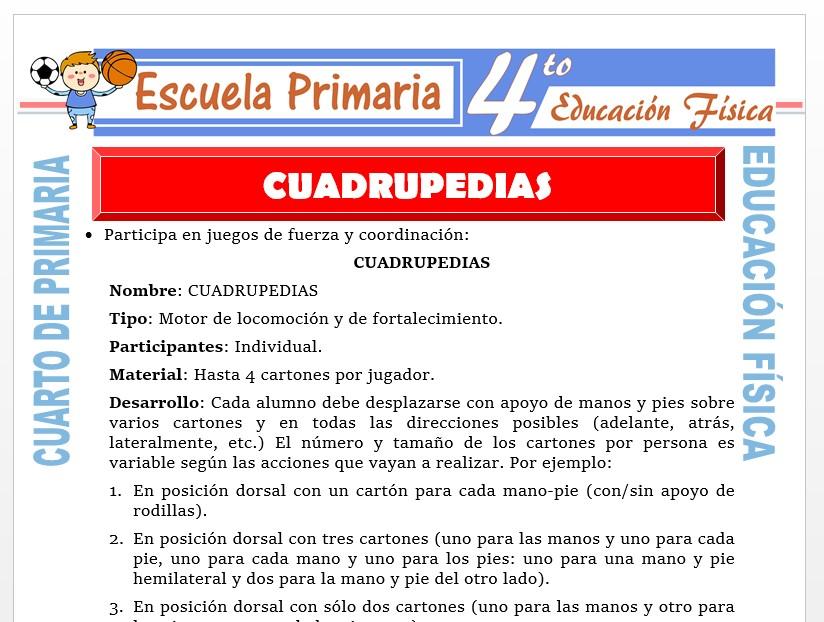 Modelo de la Ficha de Cuadrupedia para Cuarto de Primaria