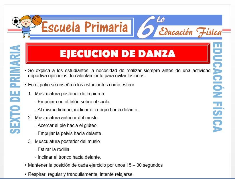 Modelo de la Ficha de Ejecución de Danza para Sexto de Primaria