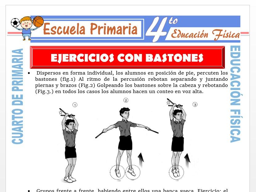 Modelo de la Ficha de Ejercicios con Bastones para Cuarto de Primaria